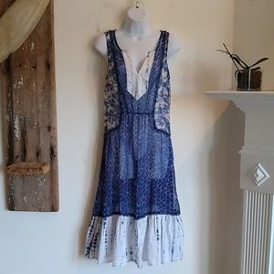 Anthropology Meadow Rue blue patchwork Dress M